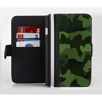 The Dark Green Camouflage Textile Ink-Fuzed Leather Folding Wallet Credit-Card Case for the Apple iPhone 6/6s, 6/6s Plus, 5/5s and 5c