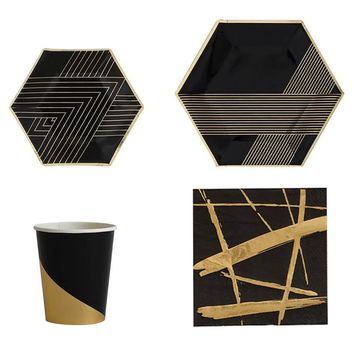 Black + Gold Party Tableware Set
