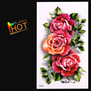 shopping 3D Rose Fake Tattoo Sticker Sex Products Waterproof Temporary Tattoo Sticker Flash tattoos