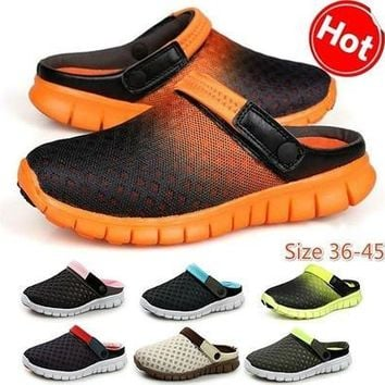 New fashion men casual mesh shoes comfortable soft non slip rubber soled women sandals spring summer autumn breathable slip on loafers round toe unisex patchwork slippers [8822150083]