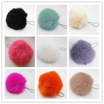 Soft Rabbit Fur Ball Key chains Mobile phone Plug backpack bags decorations [8403189831]