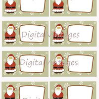 Gift Tag Sheet Digital Image Santa Christmas Printable Download Illustration Graphic Antique Clip Art Transfers Prints HQ JPG 300dpi