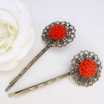 Bronze bobby pins with red flower and vintage filigree