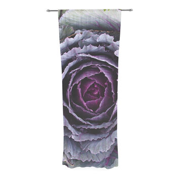 "Susan Sanders ""Flower Love"" Purple Green Decorative Sheer Curtain"