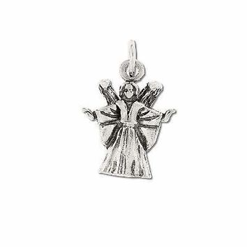 Sterling Silver 925 Angel with Raised Arms Charm Pendant