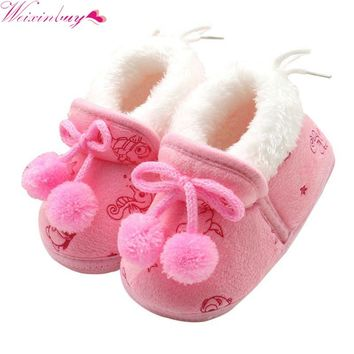 Fashion Winter Baby Boys Girls Cotton Shoes Plush Warm Boots 0-18 Months