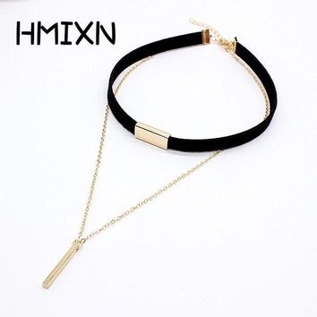 ac DCCKO2Q 2017 New Black Velvet Choker Necklace Strip rope Chain Bar Square tube strip Chocker Women collar mujer collier femme ras du cou