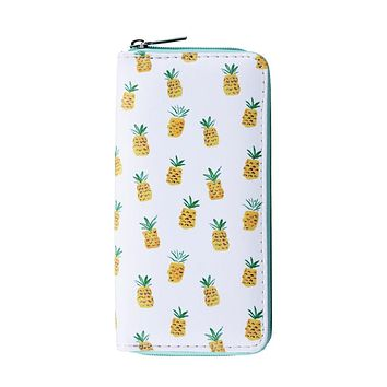 Tiny Pineapple Women's Zipper Wallet with Gold Accents