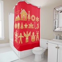 gingerbread celebration shower curtain