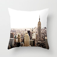 New York City Skyline Throw Pillow by Vivienne Gucwa