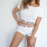 Reworked Tommy Hilfiger Crop Top and Shorts