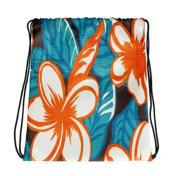 Hawaiian Vintage All Over Floral Drawstring bag