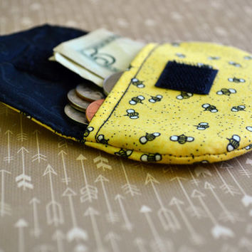 Bumble bee coin purse, change purse, pouch, coin bag, mini wallet, purse, pocket pouch, bumble bee fabric, change wallet, stocking stuffers