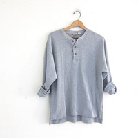 vintage long sleeve gray top. button front henley. cotton shirt M