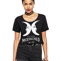 Black Cropped T-shirt With Double Moons Letter Print