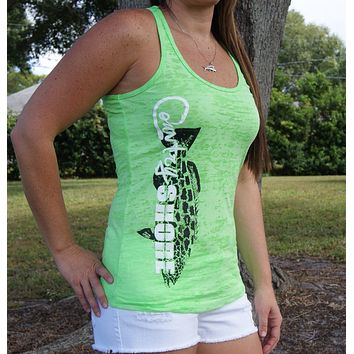 Burnout Green Grouper Tank Top
