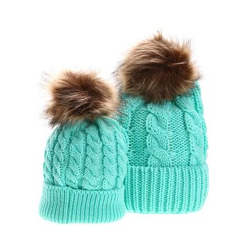 2pcs Mom Baby Hat Hats For Girls Kids Baby Winter Fur Hat Caps Boys Girls Beanie Cotton Knitted Caps Hats for Children Boys