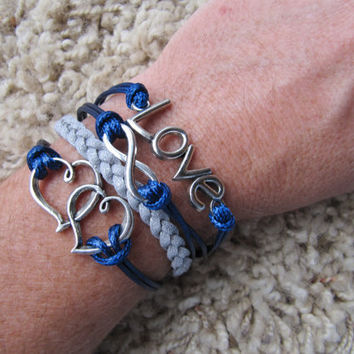 Made in the USA - Metallic Silver and Navy Double Heart Love Infinity Friendship Charm Bracelet
