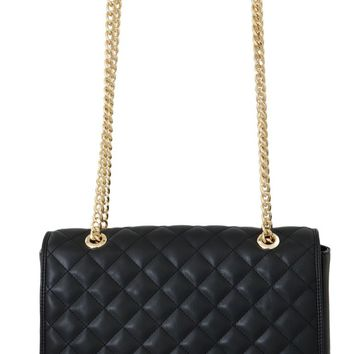 Black Quilted Faux Leather Messenger Bag