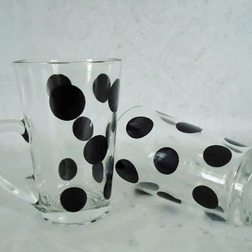 Fire King Black Polka Dot Glass Mugs - Vintage Fire King Patio Dot Glass Mugs - Retro Black Dot Glass Mugs