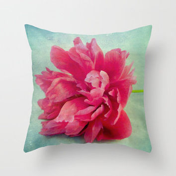 Peony on Blue Throw Pillow by Ally Coxon   Society6