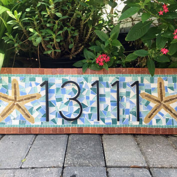 House Numbers | Mosaic Address Sign | Beach House Address Plaque | Summer Home |  Address Marker | Starfish | Teal and Blue
