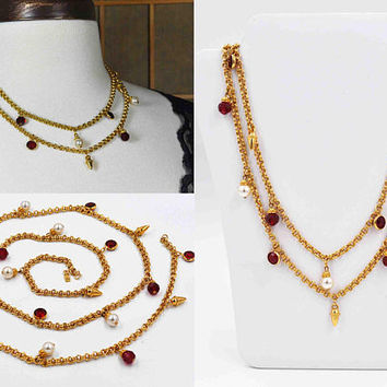 Vintage Swarovski Gold & Red Crystal Charm Necklace, Pearl, Crystal Bezel, Gold Charms, Double Link Chain, Clasp, So Nice! #c206