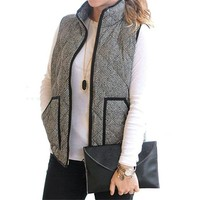 Women's Fall Slim Quilted Herringbone Puffer Vest with Zipper