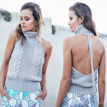 Summer Turtleneck Knitted Sweater Women Sexy Sleeveless Backless Sweaters And Pullovers Female Warm Jumpers 2017 Pull Femme