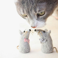 Art Photograhpy Cat and Two Toy Mice