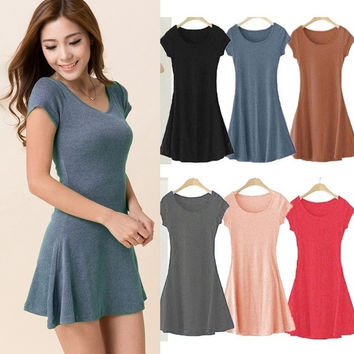women dress Korean Girl Mini Dress Short Sleeve Candy Color One-piece Slim Basic Dresses = 1705618180