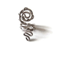No Piercing Cartilage Ear Cuff Spiral Sacred Geometry for Upper Ear Silver Toned Wire