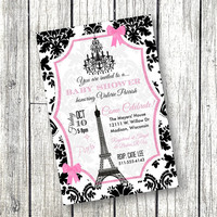Paris Baby Shower Invitation Paper Goods Invitations Eiffel Tower Chandelier pink and black 5x7 invite printable damask theme
