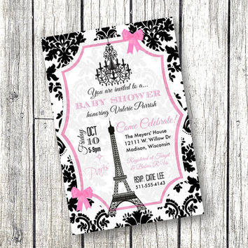 paris baby shower invitation paper goods invitations eiffel tower chandelier pink and black 5x7 invite printable