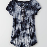 AEO Soft & Sexy Lace-Up T-Shirt , Black