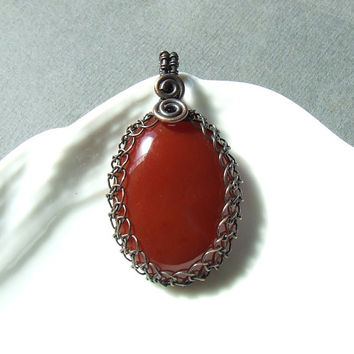 Red carnelian pendant, natural stone copper pendant, handmade jewelry