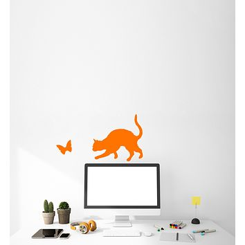 Vinyl Wall Decal Silhouette Funny Cat and Butterfly Stickers (3959ig)