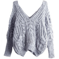 Gray Double V-neck Open Knitted Sweater