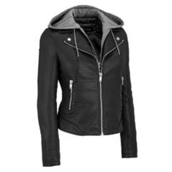 Black Rivet Womens Faux-Leather Moto Jacket W/ Adjustable And Removable Hood - Sears