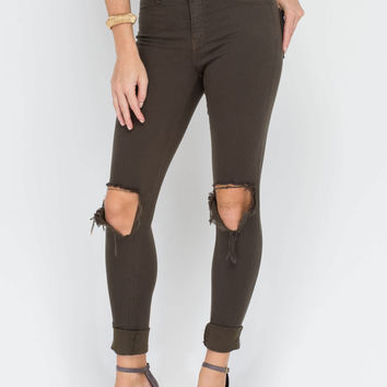 Make The Cut-Out Distressed Skinny Jeans GoJane.com