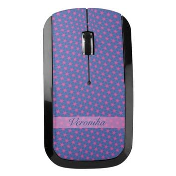 Pink stars on a blue background. Add name. Wireless Mouse