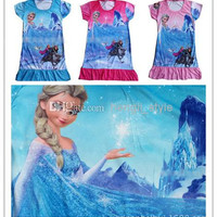 New Girls Children Cartoon Printed Princess Dress 3 pcs/lot Girls Baby Summer Fashion Cartoon Short Sleeve Dress 3 Colors
