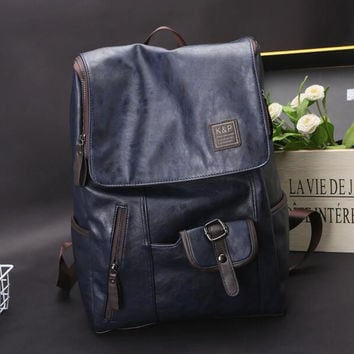 Men's Leather Backpack Laptop Bag Vintage Bags Shoulder Briefcase Rucksack
