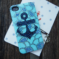 Anchor and Net Rhinestone Handmade Case for iPhone