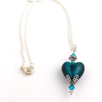 Teal Heart Pendant Necklace, Beadwork Necklace, Beaded Necklace, Heart Necklace, Women's Jewelry