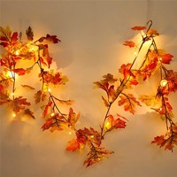 New Halloween 1.5M LED Light String Fall Autumn Pumpkin Maple Leaves Garland Decor Rattan Party Home Garden Lantern Dropship #A