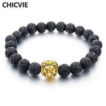 CHICVIE Natural Stone Gold color Lion strand Men Bracelet Femme Handmade Beads Bracelets Ethnic Men Jewelry