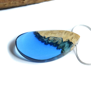 Resin Wood Necklace, Epoxy Resin, Boho Necklace, Unique Gift, Resin Jewellery, Wood Jewellery, Gift for mum, Boho Jewelry, One of a kind