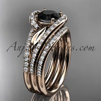 14k rose gold diamond leaf wedding ring with a Black Diamond Moissanite center stone and double matching band ADLR317S