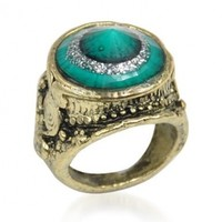 World Pride Vintage Jewelry Green Golored Bronze Tone Ring